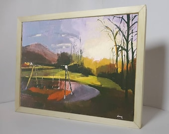Original landscape painting done in acrylics with a pinewood box frame.Ships in 1 day.