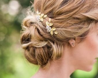 Set of 2 Gold leaf hair pin pearl hair pin bridal hair pin pearl cluster hair pin Grecian hair pin bohemian hair pin gold bridal hair pin#73
