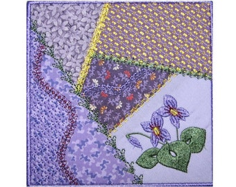 Machine Embroidery Design-ITH-Crazy Quilt Block-Wild Violet with 5 sizes included!