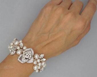 30% Off Sale Bridal Bracelet Swarovski Crystals Wedding Bracelet Pearls Cuff Bracelet Swarovski Rhinestones Bridal Jewelry for Brides
