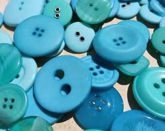 Aqua Buttons - Sewing Button Teal Aqua - 75 Assorted Buttons - Scuba Blues