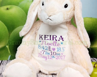 "RABBIT *EXTRA LARGE* and extra plush stuffie custom embroidered stuffed animal. lush long ear Bella Buddy Bunny 16"" plushie"