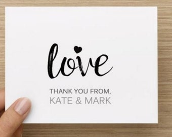 Bridal Shower Thank You Card.  Modern and Simple design with love.  Personalized.  Multiple pack sizes available!