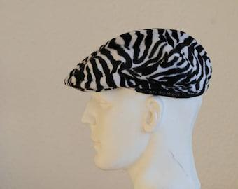 Zebra black and white fur hat size 55
