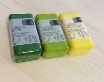 ENCAUSTIC paint, WAX PAINT, encaustic supplies, 3 pack, Green encaustic, Cadmium Yellow, encaustic supplies, discount paint, mixed media