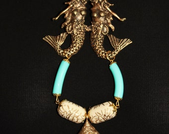 Nautical necklace, long necklace mermaids twin mermaids, ethnic shell - 20,000 LEAGUES under the sea