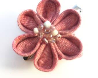 Kanzashi clip, floral barrette, flower hair clip, fabric flower clip, hair barrette