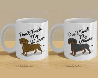 Pair of Dachshund, Wiener Dog Gift Mugs // Funny Sausage Dog Meme Cup Printed Art // Daschund Lover Art