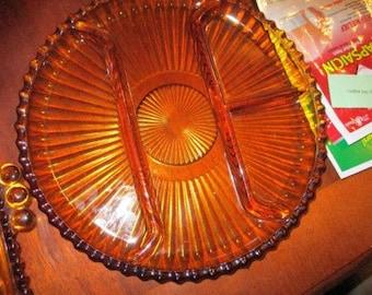 Vintage Amber Divided Relish Dish