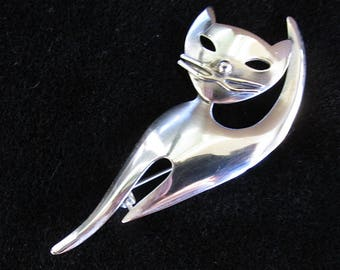 Modernist Sterling Silver Brooch Pin Danecraft Cat