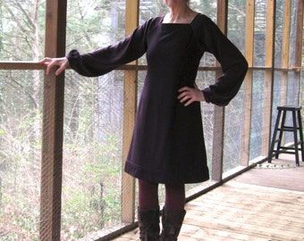 CUSTOM Wool Dress with silk sleeves, sample in deepest darkest plum