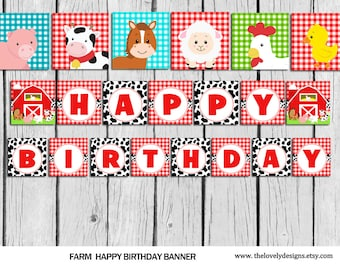 Farm Banner, INSTANT DOWNLOAD Animals Cow Birthday banner, Farm party banner, Barnyard, Printable banner, Cow Banner