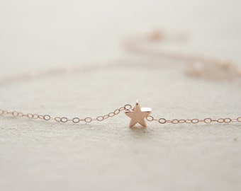 Rose Gold tiny star  necklace, birthday gift, lucky charm, layered necklace
