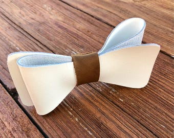 Men's white Leather bow tie. Bow ties for Men . Rustic bow tie Fathers Day gift Groomsmen gift ideas