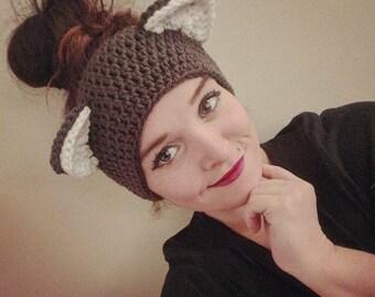Crochet Charcoal Kitty Ear Warmers