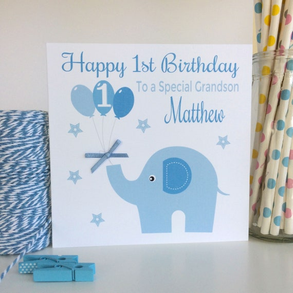 Personalised blue elephant birthday card son grandson nephew personalised blue elephant birthday card son grandson nephew brother godson 1st first 2nd 3rd 1st birthday card 2nd birthday card lb046 bookmarktalkfo Images
