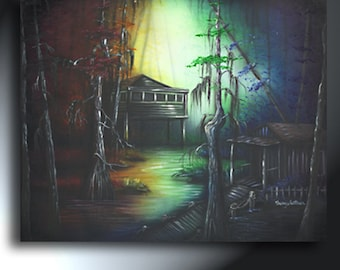 Bayou Rainbow Swamp With Shacks Original Painting 24 X 30 Sherry Arthur