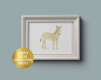 Safari Nursery Art / Zebra Bedroom Decor / Zebra Nursery Print / Zebra Print Wall Art / Zebra Nursery Decor / African Baby Animals / Gold