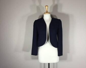 Vintage Villager Silk Suite Jacket, 70s Navy Silk Jacket, Sakowitz Department Store, Petite Jacket, ILGEU Union Lable