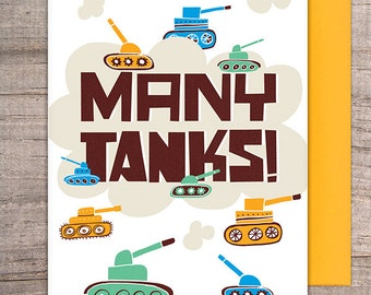"Many Tanks ""THANKS"" greeting card"