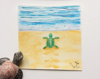 Watercolor Painting Turtle in the Sand