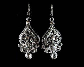 Victorian Wedding Earrings, Dangle Bridal Earrings, Bridal Jewelry, Swarovski Crystal Wedding Jewelry, Drop Earrings, Silver Earrings, ALLY