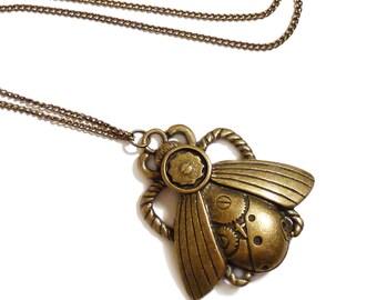 Steampunk Halskette Mechanische Käfer viktorianischen gotischen Antik Messing Goth gothic