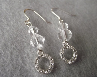 Gorgeous Crystal Clear Drop Earrings with Crystal Bling Circle Drop