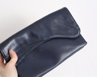 Vintage clutch in dark blue leather, 50s, 60s, leather case