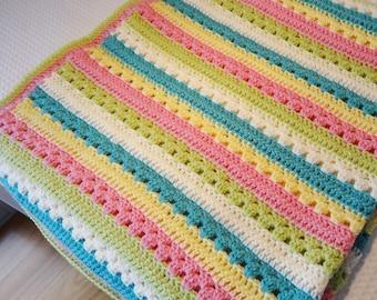 Crochet Baby blanket -Striped baby blanket -Rainbow baby blanket