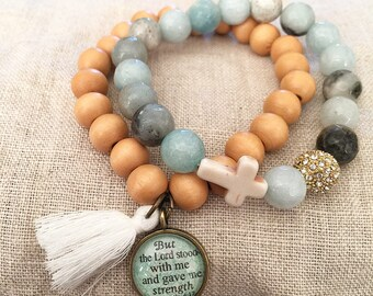 But the Lord Stood With Me and Strengthened Me-2 Timothy 4:17 Light Wood Bead Bracelet STACK