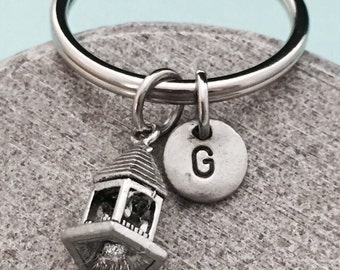 Gazebo keychain, gazebo charm, outdoor keychain, personalized keychain, initial keychain, customized keychain, monogram