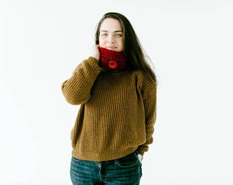 Knit Burgandy Giant Button Cowl Scarf