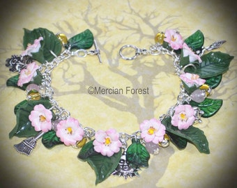 Witches Briar Wild Rose Litha Bracelet - Pagan Jewellery, Wicca, Summer Solstice