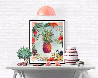 Pineapple art, pineapple print,  pineapple wall art, wall art, tropical decor, tropical wall art, kitchen decor, pineapple printable art