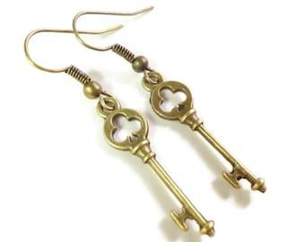 Wichtige Charme Ohrringe, Bronze Skelettschlüssel Ohrringe, Club-Ohrringe, Ohrringe, Vintage Ohrringe Metall, Teen und Frauen Schmuck
