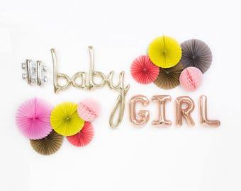 "Baby Girl Balloons / 34"" White Gold Baby Script Balloon / 16"" Rose Gold Letter Balloons / Baby Shower / Birth Announcement / Gender Reveal"