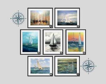 Sail boat - Sailing Boat - Wall Art - Sail boats -Painting Prints  Poster print, Yacht, boat, wall art,yacht, Marine ,sailing, boat gift
