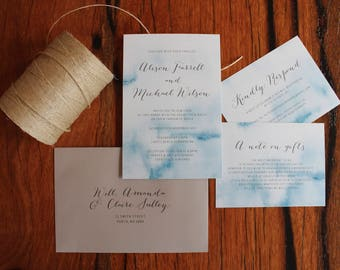 Blue Watercolour Ink Wash Printed Wedding Invitation Set
