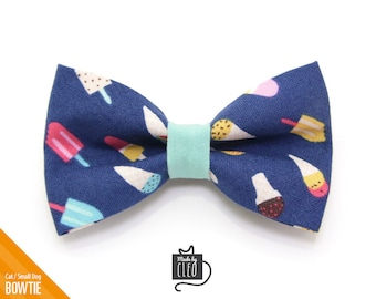 "Summer Cat Bow Tie - ""Ice Cream Party"" - Navy Blue Cat Collar Bow Tie / Kitten Bow Tie / Small Dog Bowtie / Popsicle / Removable (One Size)"