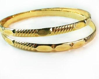 Girls Gold Bangles - BOGO - buy one get other bangle free / 1/20 -14k gold filled / 2 inch Diameter/ Girls gold bangles