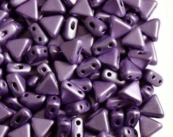 50pcs Kheops Par Puca- czech pressed 2-hole glass beads, Triangle, 6 mm, Metallic Mat Purple (KP069)