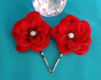 Rose Bobby Pin Set,Wedding Hair Flower,Red Wedding