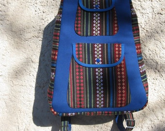 Stripes and blue cotton canvas backpack