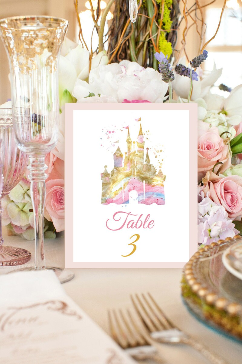 Disney castle Watercolor print Disney Table Numbers SET of 10