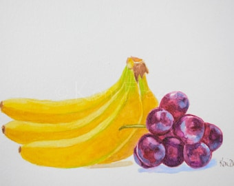 Bananas and red grapes, kitchen art, colorful home decor, fruit watercolor, original watercolor painting