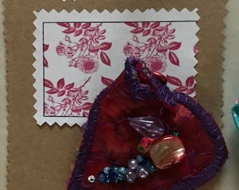 Handmade Brooch Recycled Fabric Machine & Hand Embroidered Sequins Beading Red Purple