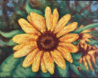 Framed Sunflower Original Oil Painting