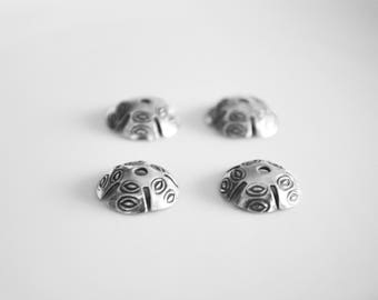 13mm Hill Tribe Silver bead caps, Sterling .925, 8 pc,  jewelry bead findings, component, Wholesale bead supplies