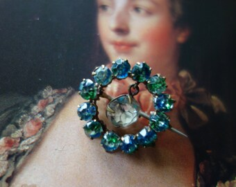 Mother's Day-gift-Art Deco-vintage brooch-with turquoise glass stones, beautiful, sparkling rhinestones, shabby, retro, noble